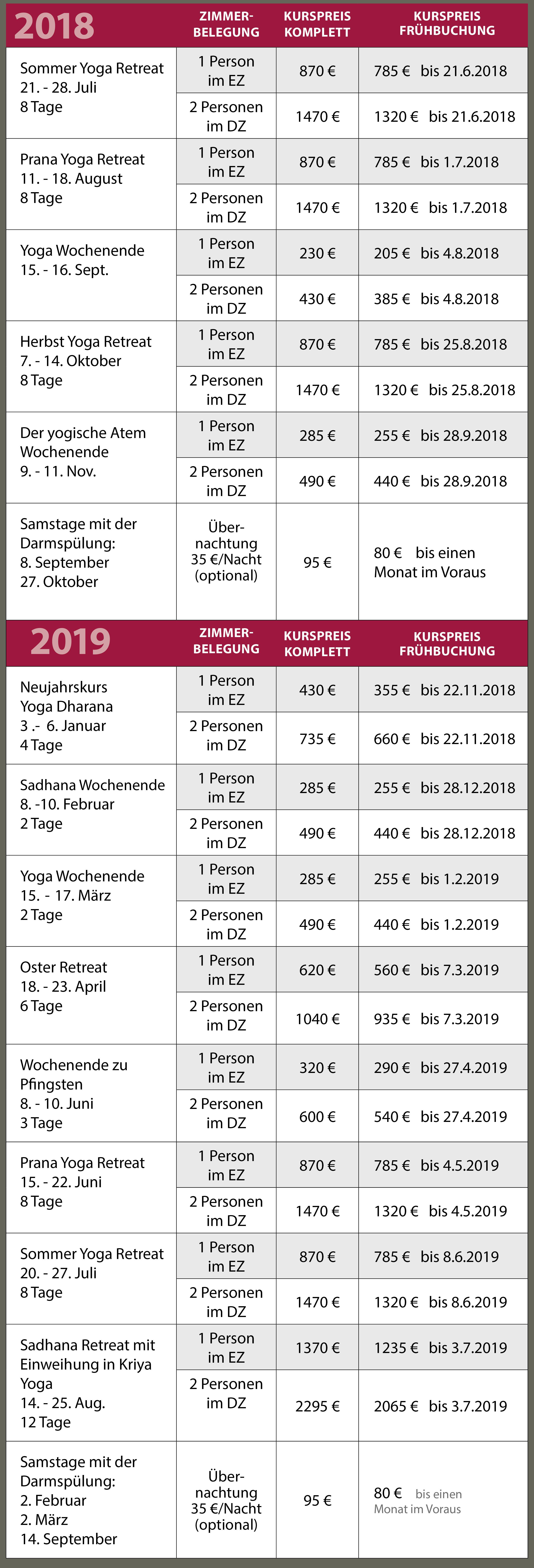 Kurs- und Preiseübersicht Harbergen Retreat 2018